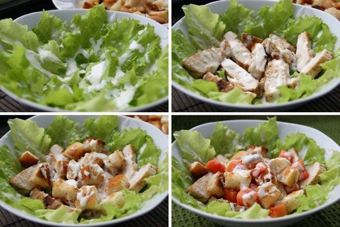 как приготовить цезарь с курицей