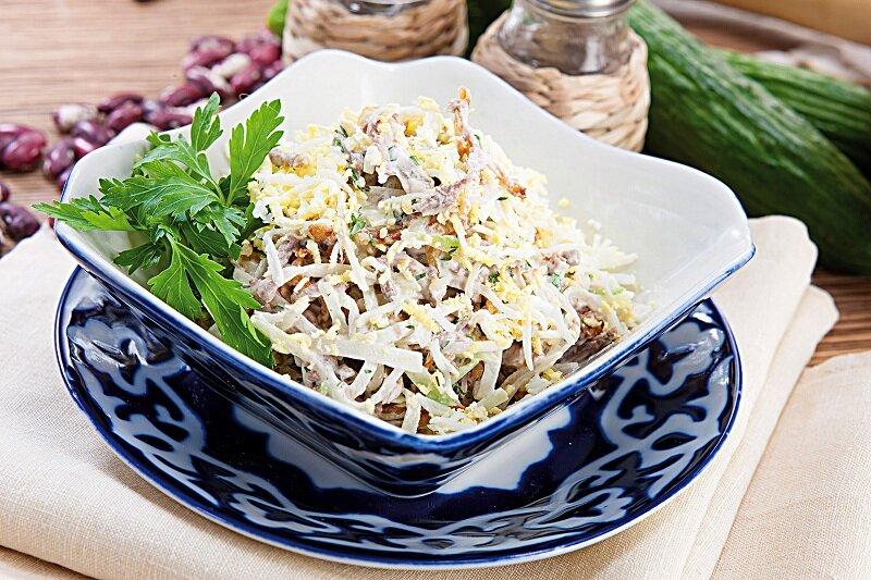 салат из редьки с мясом рецепт