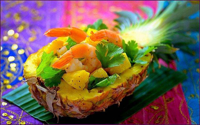 салат с креветками и ананасом - рецепты приготовления