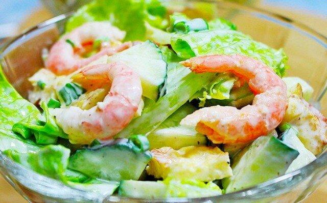 салат с креветками и ананасом - рецепты
