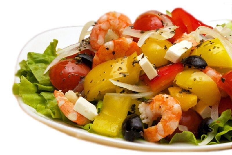 как сделать салат греческий с креветками