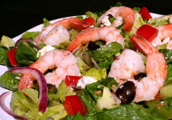 салат греческий с креветками рецепт