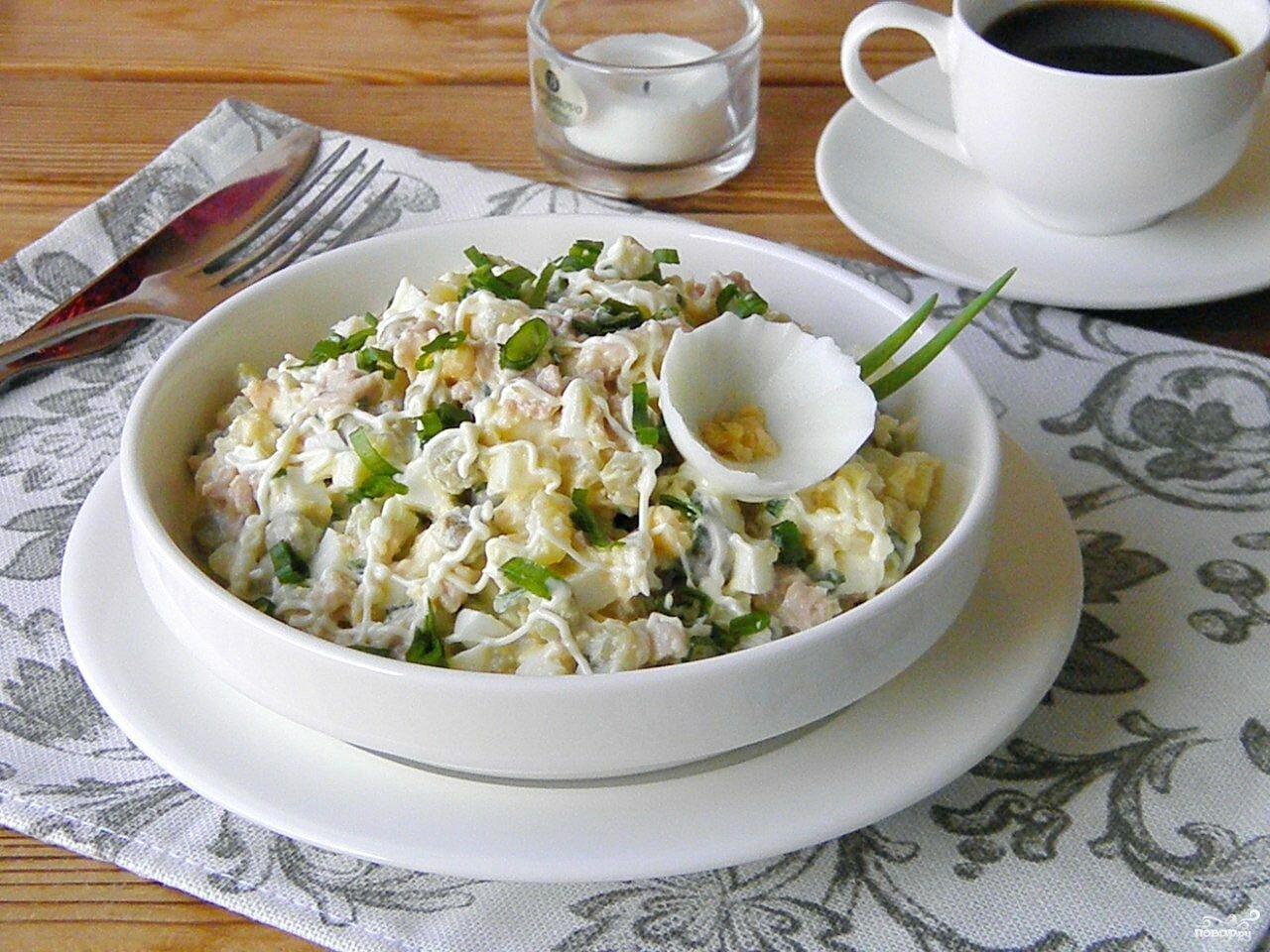 салат с печенью трески и кукурузой рецепт приготовления